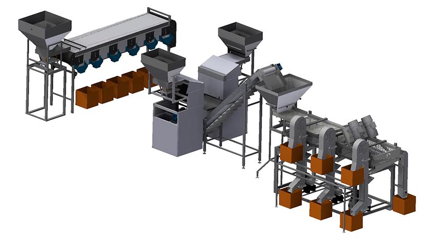 Линия по переработке фундука для очистки и переработке фундука, с внесением добавок и последующей упаковкой