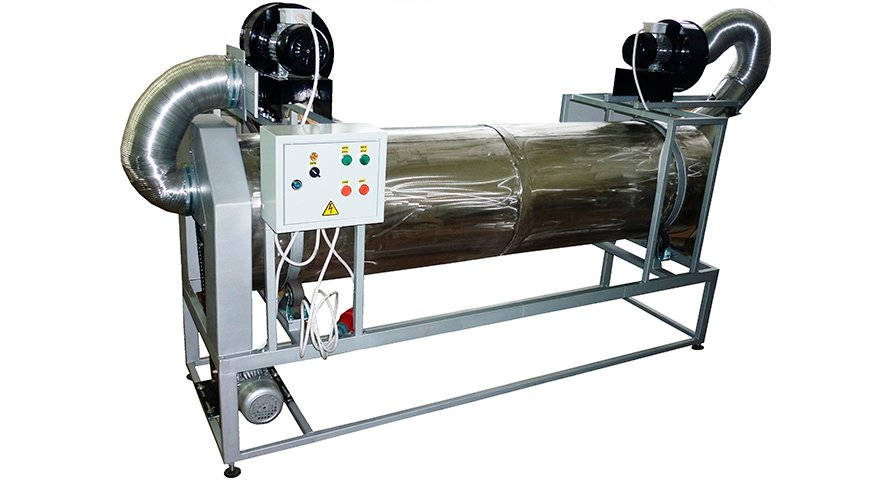Охладитель барабанного типа для охлаждения семян, зерна кофе, ореха и других подобных продуктов после выхода из печи