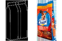 Трех шовный пакет-подушка с плоским дном, тип «стоячий»