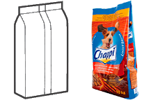 Трехшовный пакет-подушка с плоским дном, тип «стоячий»